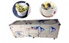 <b>Fried Ice Cream Machine With Double Pans and Ten Storage Buckets</b>