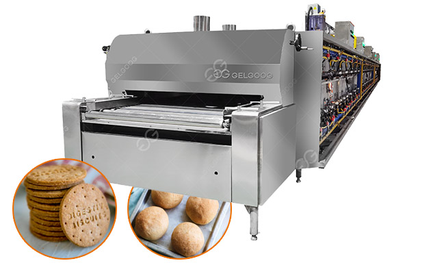 Gas Fired Industrial Biscuit Baking Tunnel Oven with Conveyor Belt