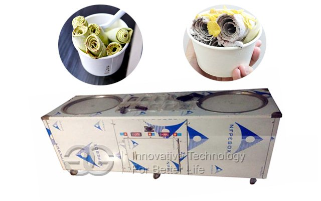 Fried Ice Cream Machine With Double Pans and Ten Storage Buckets