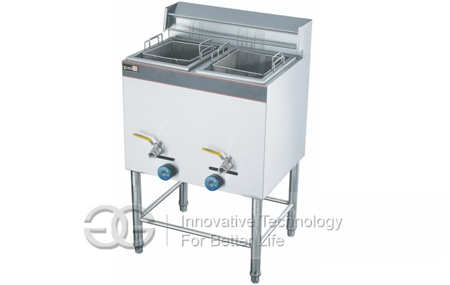 Gas Deep Frying Machine With Two Tanks Two Baskets