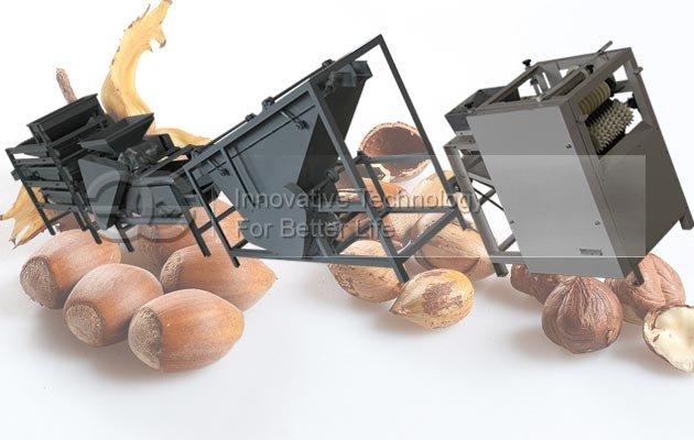 Automatic Alomnd Hazelnut Cracking Shelling Machine Equipment Line
